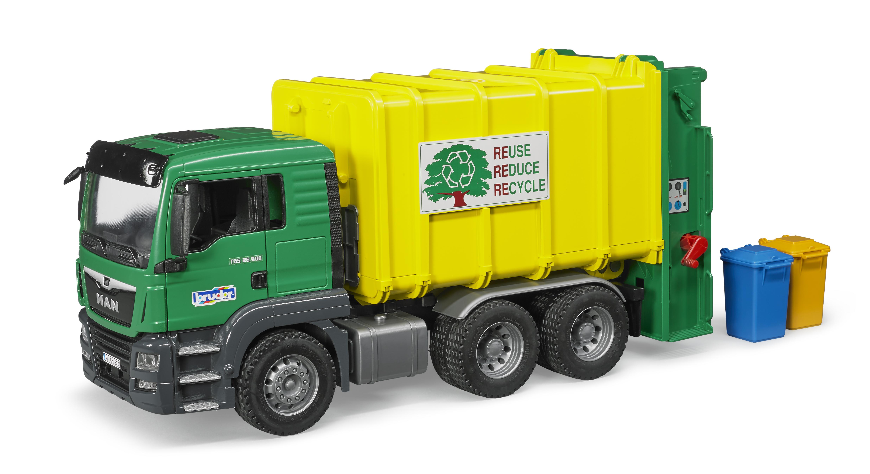 39d090dd4286 Bruder Man Tgs Rear Loading Garbage Truch (Green) 03764