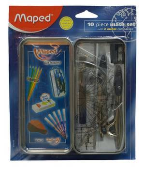 Maths Set 10 Pcs (Geometry Set Metal Box)