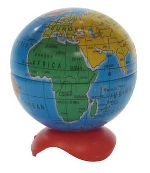 PENCIL SHARPENER - GLOBAL MAP - ONE HOLE PACK OF TWO SHARPENERS