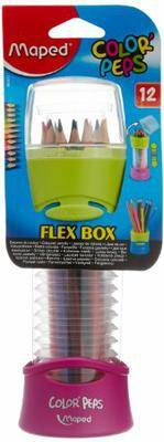 Maped Color Peps Flex Box Coloured Pencils and Pencil Holder, 12-Pack, Color May Vary (683212)
