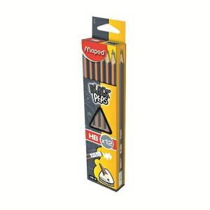 Black Peps Pencils With Eraser Rubber Boxed Hb [Box Of 12 Pencils]