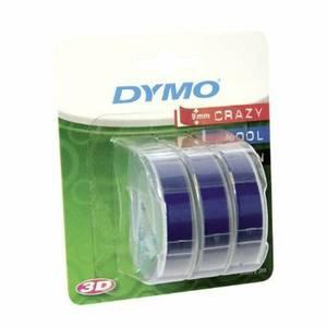 Dymo Embosser Tape 9mm White/Blue - Pack of 3