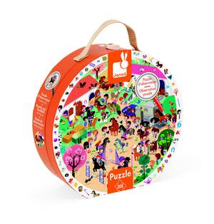 Janod 208 Pcs Round Observation Puzzle - Galloping Horses