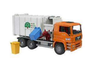 Bruder Toys Man Side Loading Garbage Truck Orange