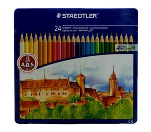 Noris Club 145 CM24 Colouring Pencils in Castle Design Tin - Assorted Colours (Pack of 24)