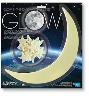 4M Glow-In-The-Dark Stars moon and stars (1 Mooon, 12 stars)