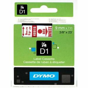 DYMO 40915 High-Performance Permanent Self-Adhesive D1 Standard Tape for Label Makers, 3/8-inch, Red print on White, 23-foot Cartridge