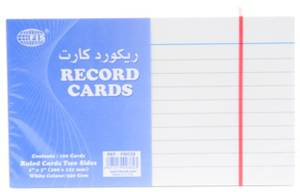Record Card 5X3 White 240 Gsm 100 Sheets