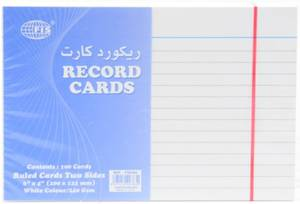 Record Card 6X4 White 240 Gsm 100 Sheets