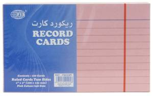 Record Card 5X3 Pink 240 Gsm 100 Sheets