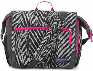 "JanSport Elefunk-Printed Laptop Messenger Bag - Grey Tar Wild At Heart / 13""H x 16""W x 5.5""D"
