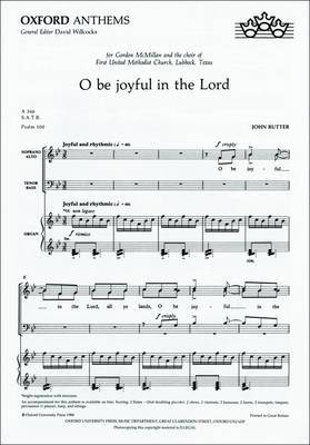 O be Joyful in the Lord: Vocal Score