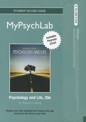 New MyPsychLab with Pearson Etext -- Standalone Access Card -- for Psychology and Life (standalone)
