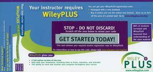 WileyPlus Registration Card for Principles of Anatomy and Physiology