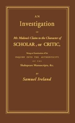 An Investigation into Mr. Malone's Claim to Charter of Scholar: Volume 24