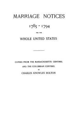 Marriage Notices, 1785-1794