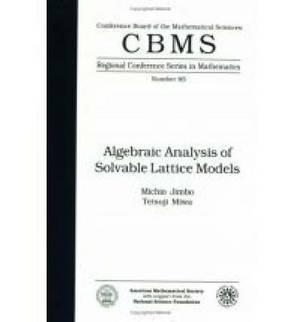 Algebraic Analysis of Solvable Lattice Models: Regional Conference
