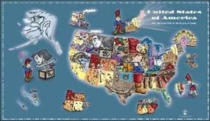 The Little Man In the Map - Wall Map: With Clues To Remember All 50 States