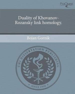 Duality of Khovanov-Rozansky Link Homology
