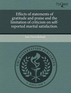 Effects of Statements of Gratitude and Praise and the Limitation of Criticism on Self-Reported Marital Satisfaction