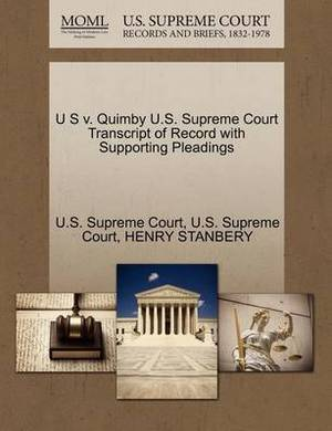 U S V. Quimby U.S. Supreme Court Transcript of Record with Supporting Pleadings