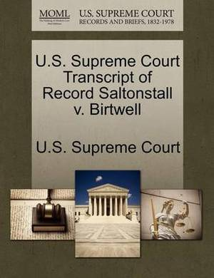 U.S. Supreme Court Transcript of Record Saltonstall V. Birtwell