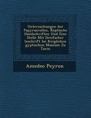Untersuchungen Ber Papyrusrollen, Koptische Handschriften Und Eine Stelle Mit Dreifacher Inschrift Im K Niglichen Gyptischen Museum Zu Turin