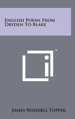English Poems from Dryden to Blake
