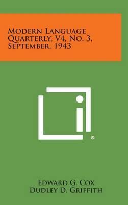 Modern Language Quarterly, V4, No. 3, September, 1943