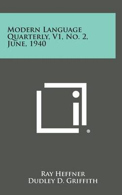 Modern Language Quarterly, V1, No. 2, June, 1940