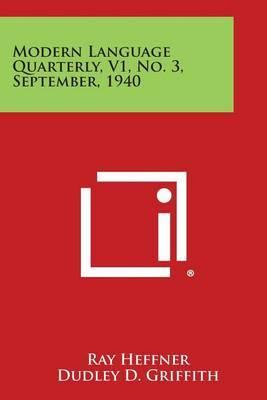 Modern Language Quarterly, V1, No. 3, September, 1940