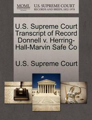U.S. Supreme Court Transcript of Record Donnell V. Herring-Hall-Marvin Safe Co