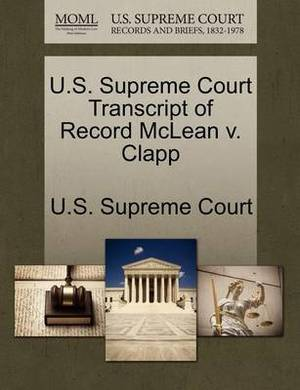U.S. Supreme Court Transcript of Record McLean V. Clapp