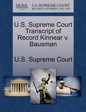 U.S. Supreme Court Transcript of Record Kinnear V. Bausman