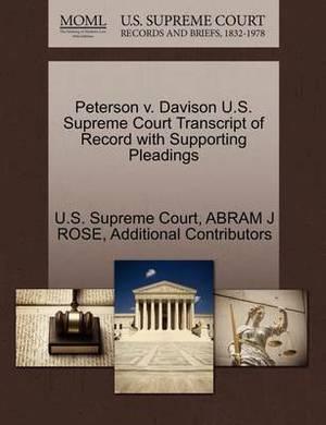Peterson V. Davison U.S. Supreme Court Transcript of Record with Supporting Pleadings