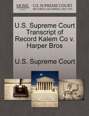 U.S. Supreme Court Transcript of Record Kalem Co V. Harper Bros