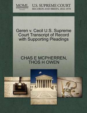 Geren V. Cecil U.S. Supreme Court Transcript of Record with Supporting Pleadings