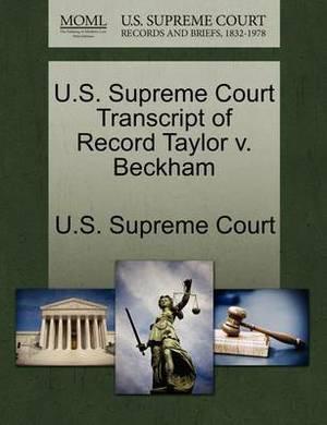 U.S. Supreme Court Transcript of Record Taylor V. Beckham