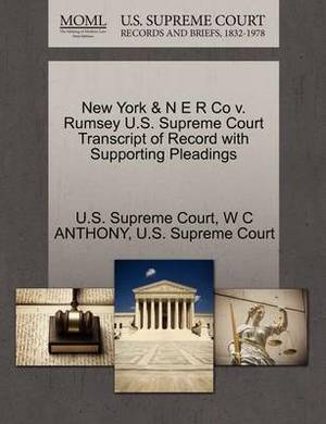 New York & N E R Co V. Rumsey U.S. Supreme Court Transcript of Record with Supporting Pleadings