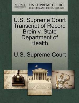 U.S. Supreme Court Transcript of Record Brein V. State Department of Health