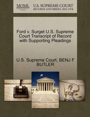 Ford V. Surget U.S. Supreme Court Transcript of Record with Supporting Pleadings