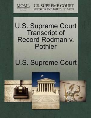 U.S. Supreme Court Transcript of Record Rodman V. Pothier