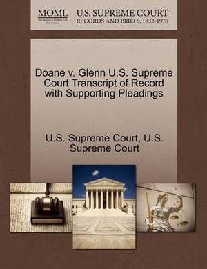 Doane V. Glenn U.S. Supreme Court Transcript of Record with Supporting Pleadings