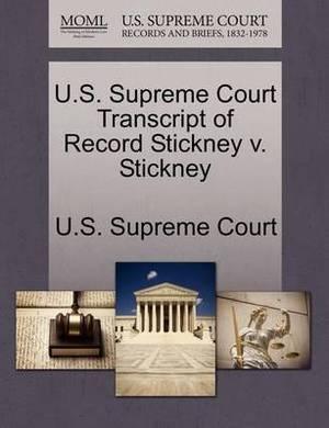 U.S. Supreme Court Transcript of Record Stickney V. Stickney