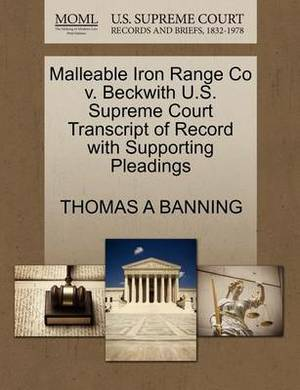 Malleable Iron Range Co V. Beckwith U.S. Supreme Court Transcript of Record with Supporting Pleadings