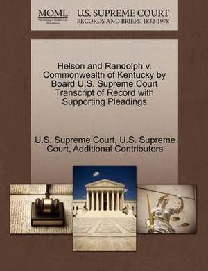 Helson and Randolph V. Commonwealth of Kentucky by Board U.S. Supreme Court Transcript of Record with Supporting Pleadings