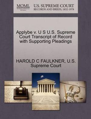 Applybe V. U S U.S. Supreme Court Transcript of Record with Supporting Pleadings
