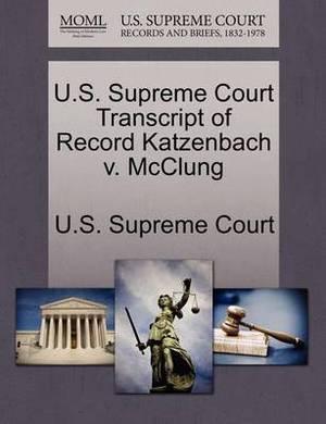 U.S. Supreme Court Transcript of Record Katzenbach V. McClung