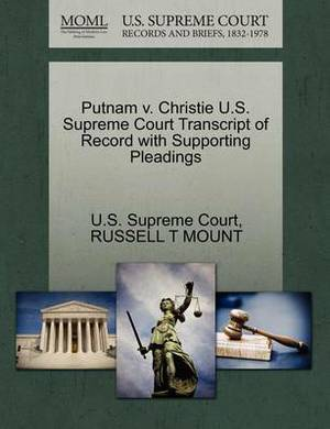 Putnam V. Christie U.S. Supreme Court Transcript of Record with Supporting Pleadings