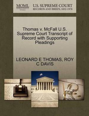 Thomas V. McFall U.S. Supreme Court Transcript of Record with Supporting Pleadings